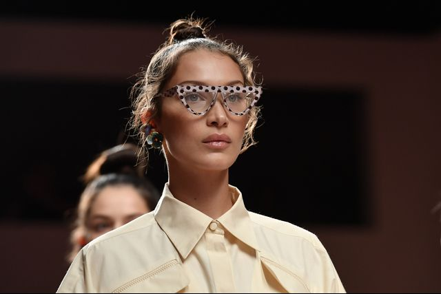 Bella Hadid on the Runway Wearing Optical Glasses