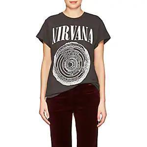 Women's Band-Graphic Cotton T-Shirt - Black Size L