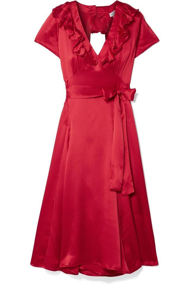 Celia Cutout Silk Wrap Dress