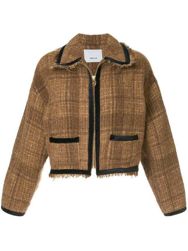 frayed cropped tweed jacket