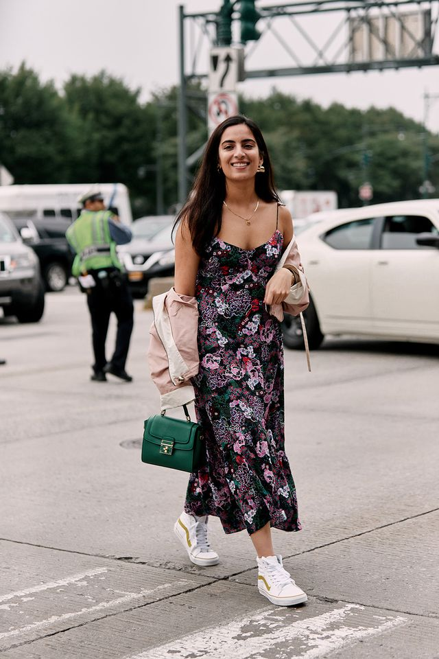 Floral slip dress with high-top Vans outfit