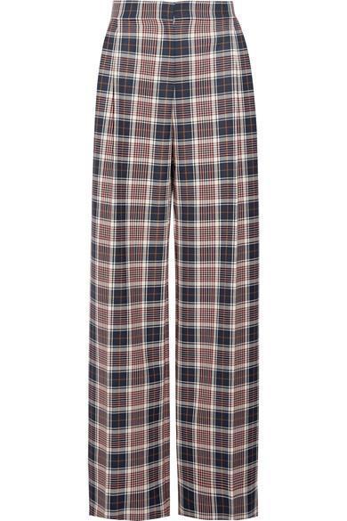 Garrett Pleated Plaid Twill Wide-leg Pants