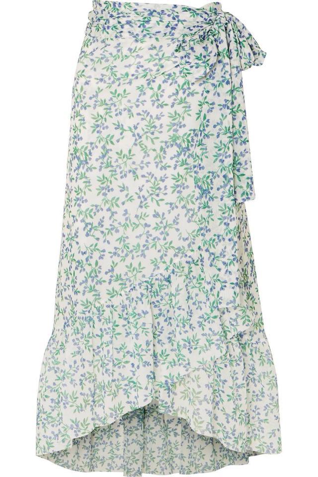 Tilden Floral-print Mesh Wrap Skirt