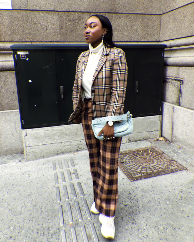 Mixed plaid outfit with Fila sneakers
