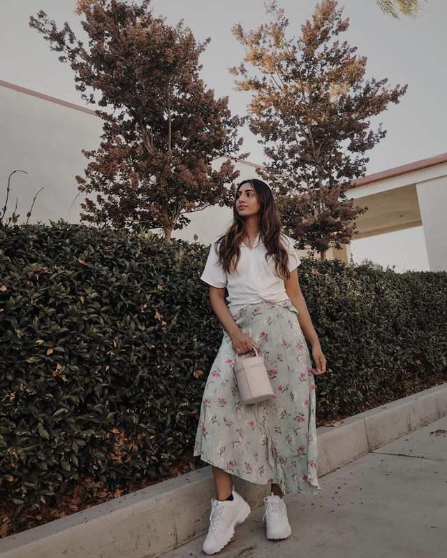 Fila sneakers outfit with floral skirt