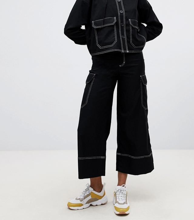 Monki Wide Leg Cargo Trousers