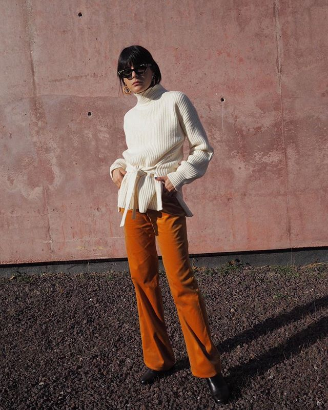winter coffee-date outfits with corduroy pants