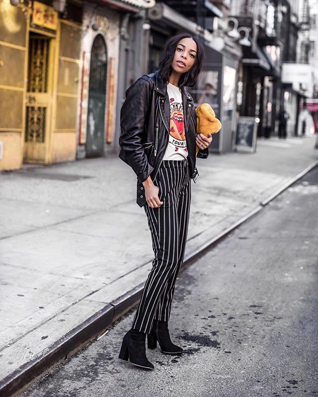 winter coffee-date outfits with leather jackets