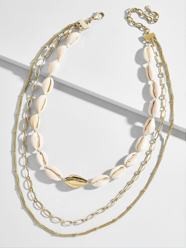 affordable trendy necklaces with shells and chains