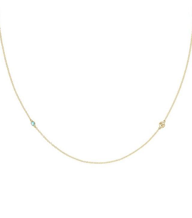 Tacori The Gemstone & Monogram Necklace w/ Swiss Blue Topaz
