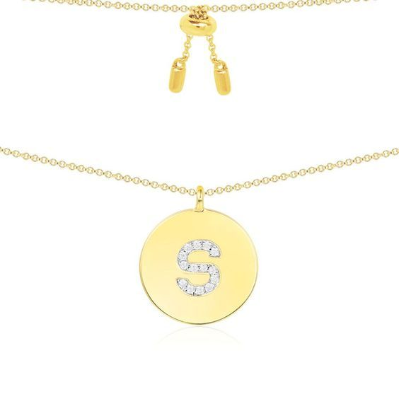 yellow silver initial necklaces under $200