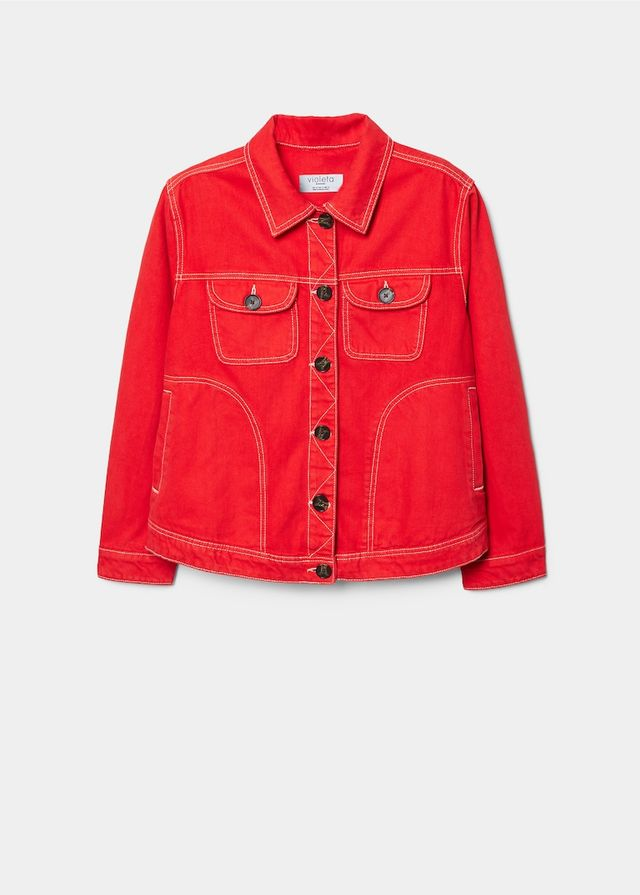 Mango Contrasted Seams Denim Jacket