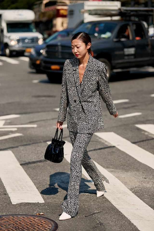 Leopard suit with white boots outfit