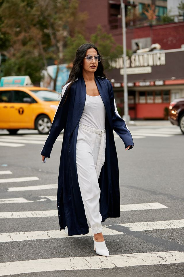 All white outfit with blue robe coat