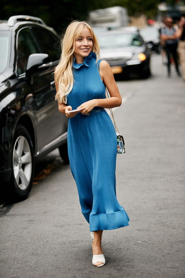 Blue dress with white heels outfit