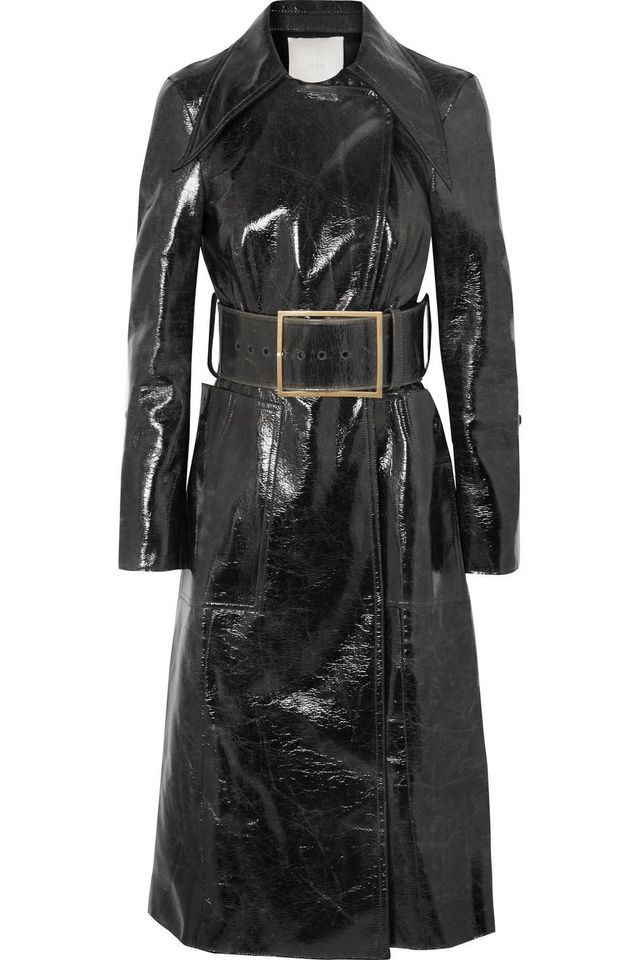 Coated Wool-blend Trench Coat
