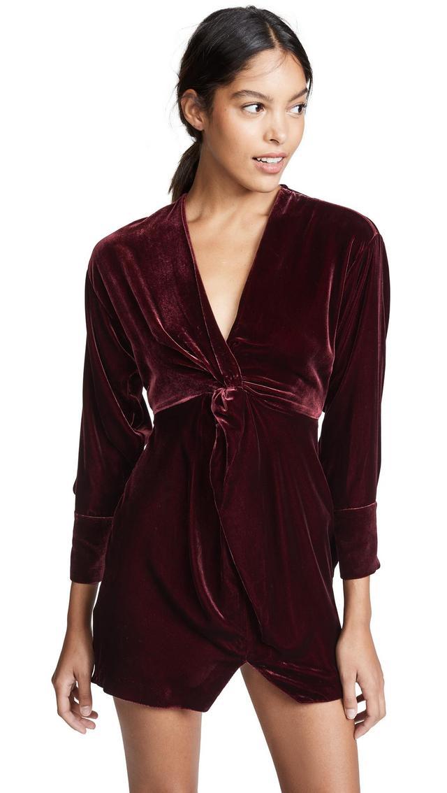 Silk Velvet Twist Front Dress