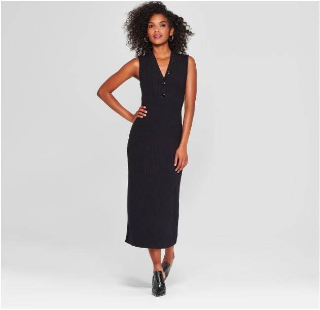 Women's Sleeveless Button Knit Midi Dress