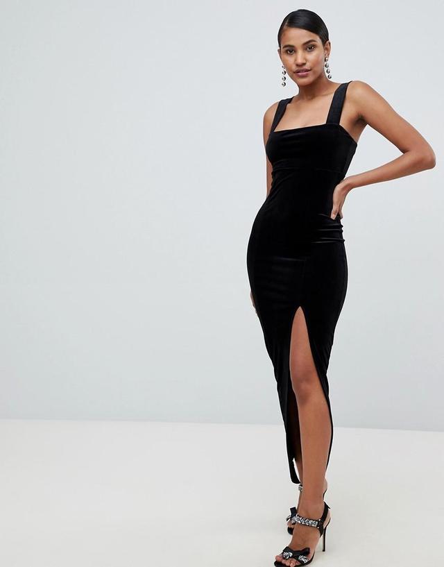 velvet square neck maxi dress