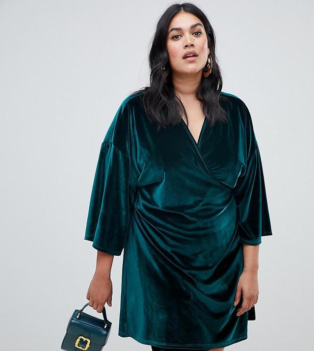 velvet kimono sleeve mini dress in green