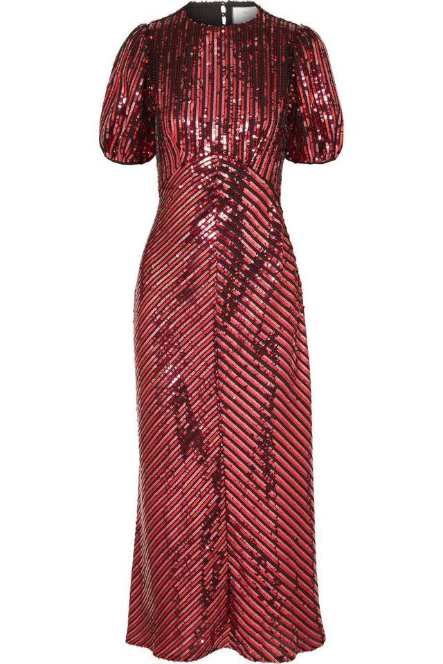 Laura Jackson Daisy Velvet-trimmed Sequined Crepe Midi Dress
