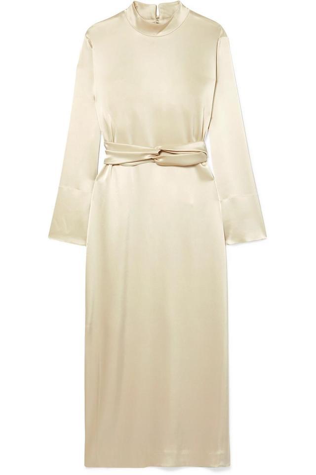 Sadie Belted Satin Midi Dress