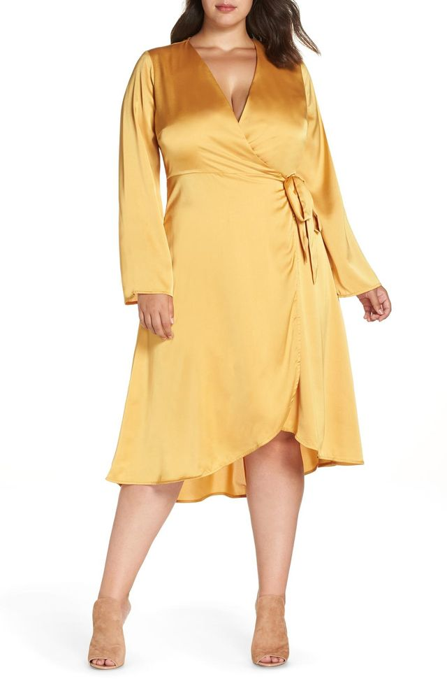 Plus Size Women's Lost Ink Satin Wrap Dress