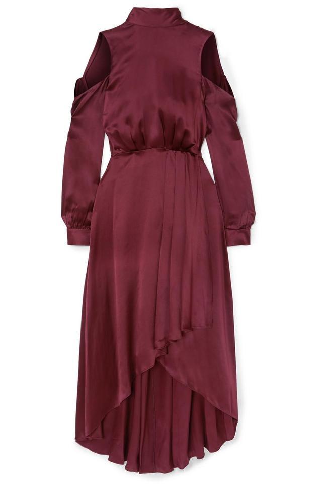 Cold-shoulder Asymmetric Silk Midi Dress