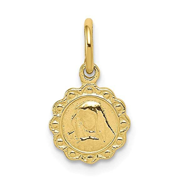 10kt Yellow Gold Solid Our Lady Of Sorrows Disc Pendant