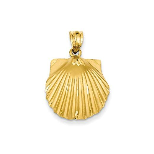 14ct Yellow Gold Solid Satin Polished Seashell Pendant