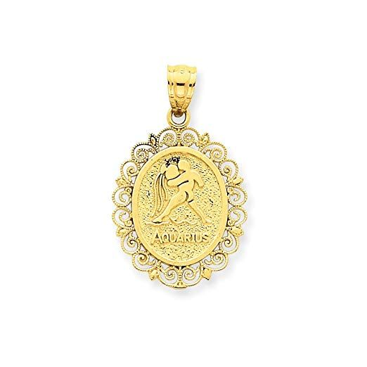 14ct Yellow Gold Textured back Solid Satin Polished Aquarius Zodiac Oval Pendant