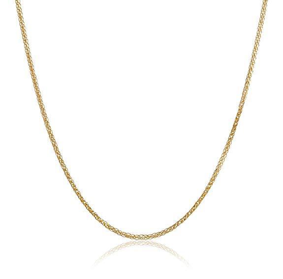 18k Italian Gold Diamond-Cut Wheat Chain