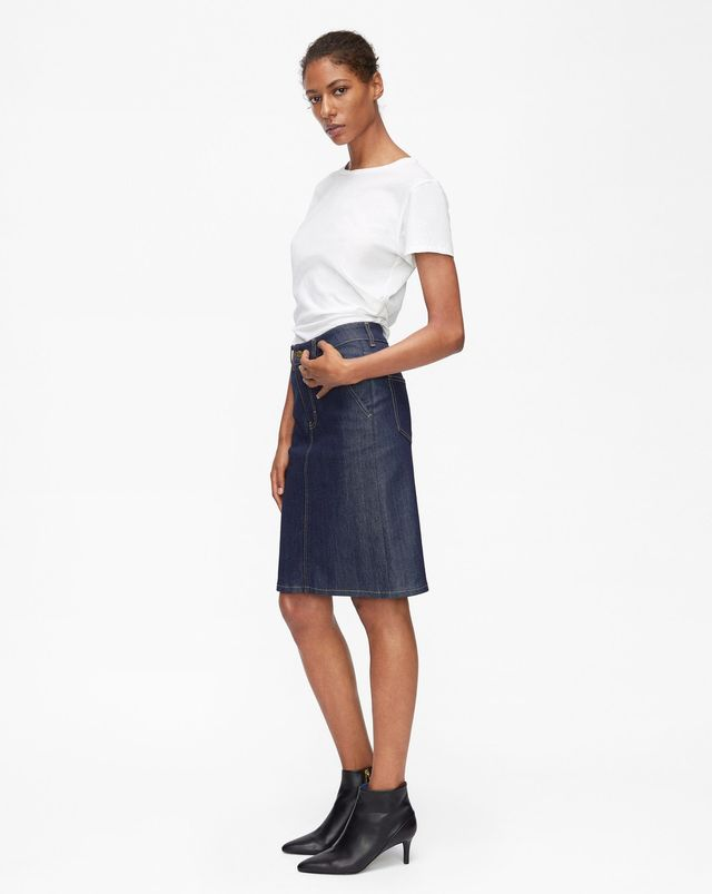 Filippa K Alicia Raw Denim Skirt in Dark Blue