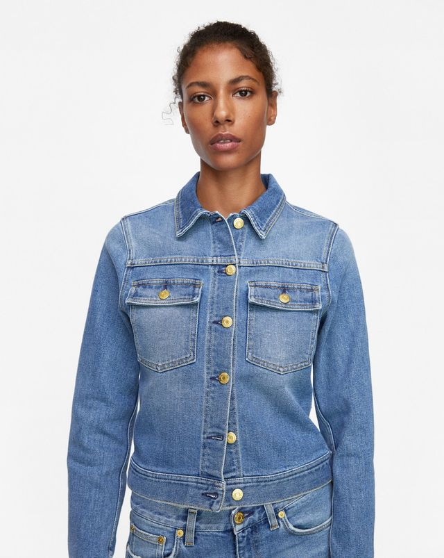 Filippa K Suzy Washed Denim Jacket in Mid Blue