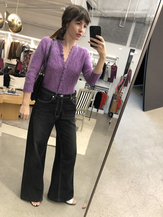Office Outfits - Cardigan + Wide-Leg Jeans
