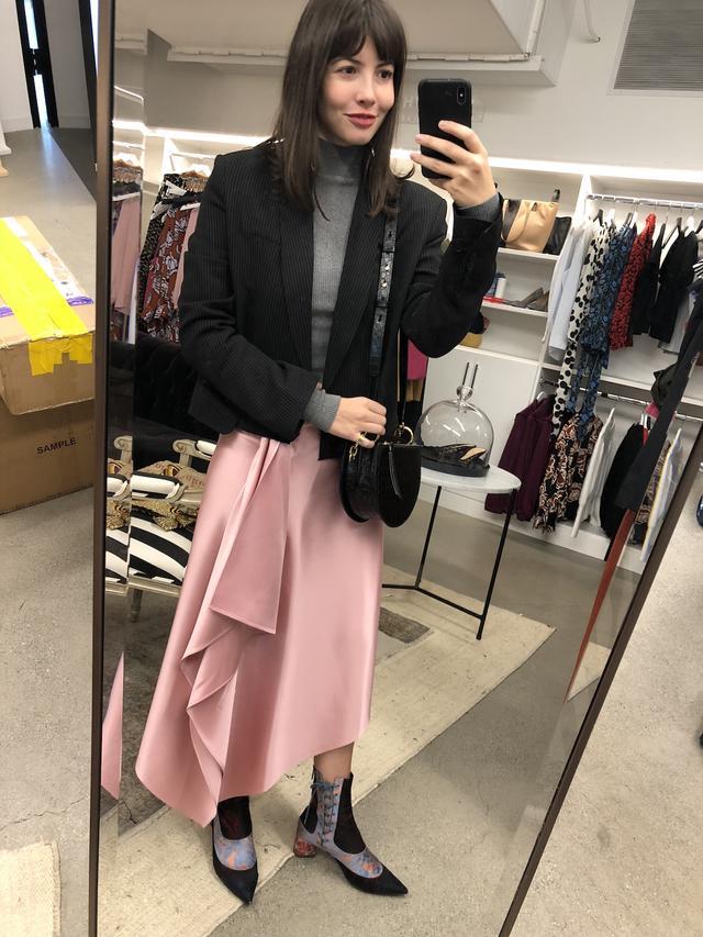 Office Outfits - Blazer + Turtleneck + Midi Skirt