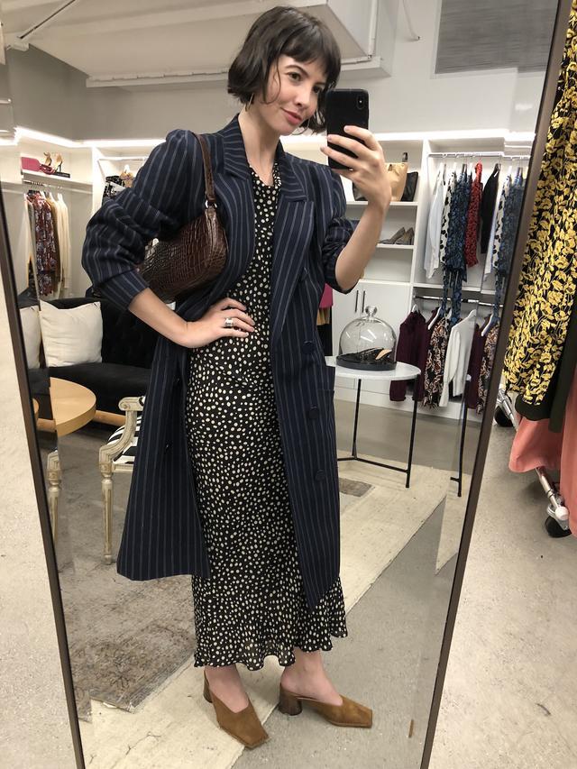 Office Outfits - Long Blazer Coat + Midi Dress