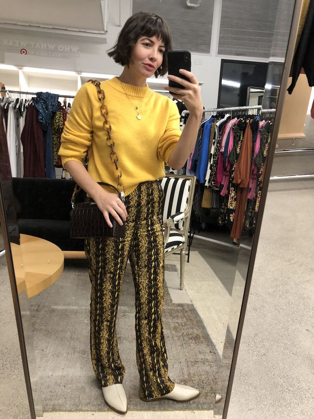 Office Outfits - Sweater + Printed Pants