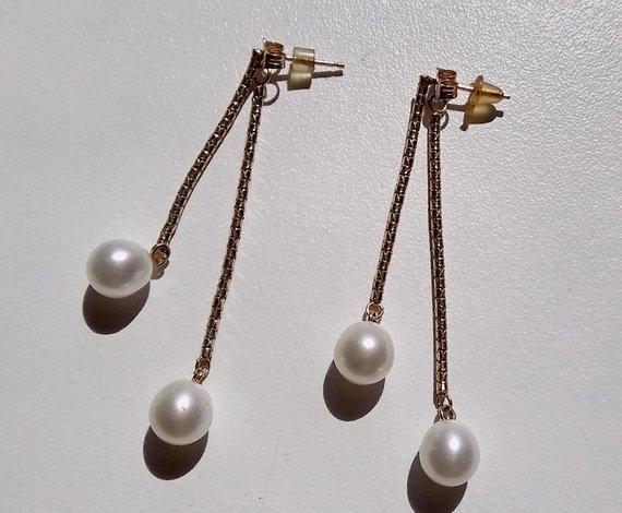 Vintage 14k Yellow Gold Double Teardrop Earrings