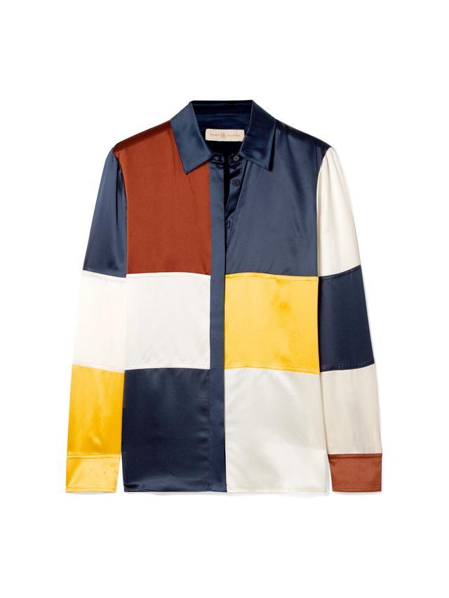 Reese Color-block Silk-satin Shirt