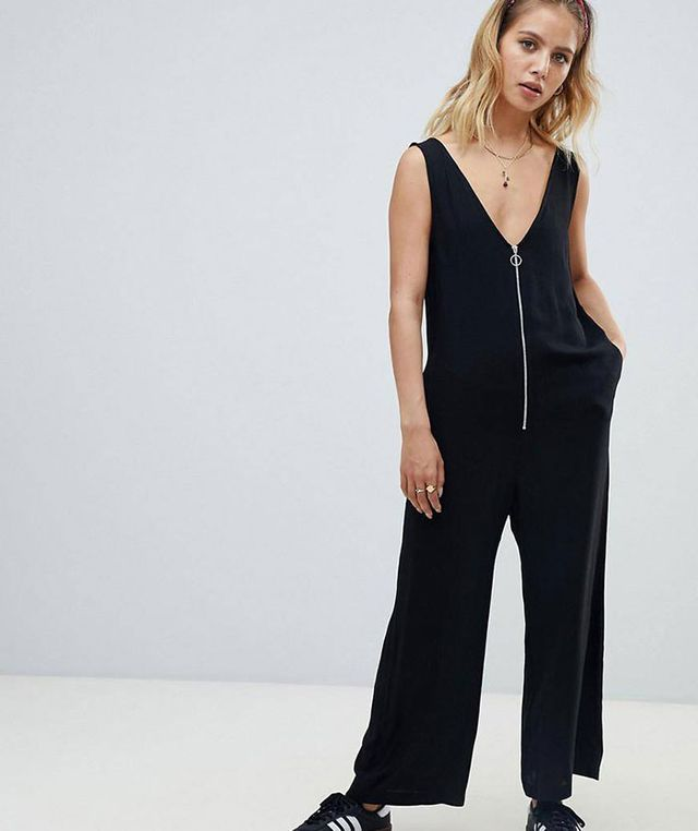 zip front relaxed jumpsuit