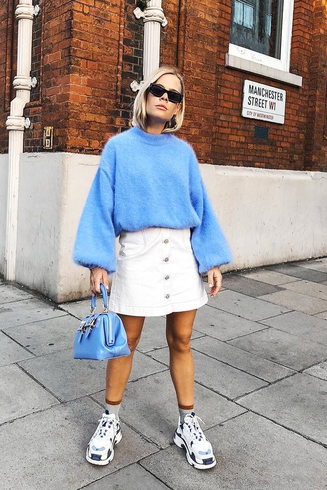 Jessie Bush style: Jessie wearing Emilio Pucci jumper and Paul Smith skirt