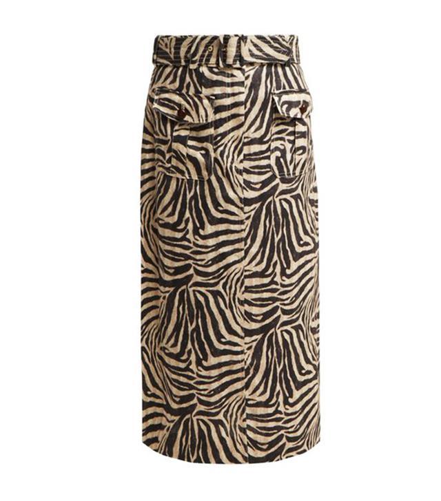 Zimmerman Corsage Zebra-Print Safari Midi Skirt