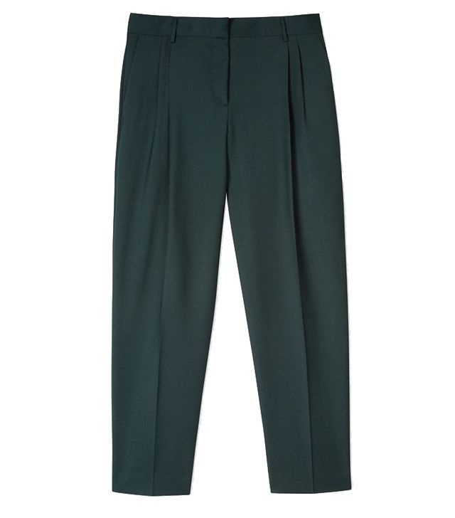 Paul Smith Tailored-Fit Dark Green Wool Double-Pleat Trousers