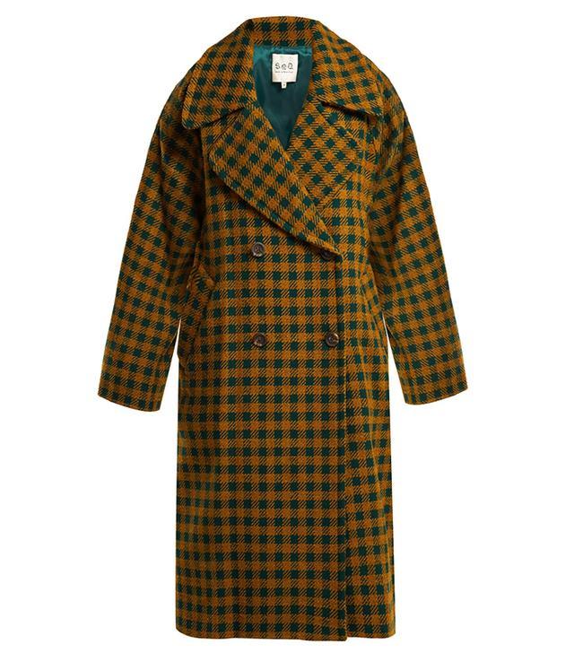 Sea Ethno Pop Plaid Wool-Blend Coat