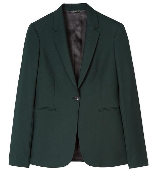 Paul Smith Dark Green One-Button Wool Blazer