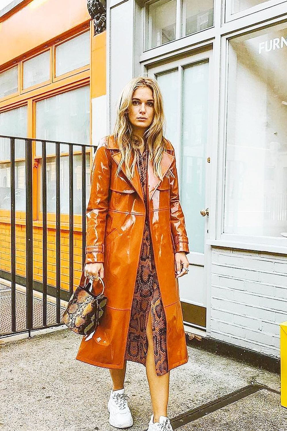 A Sold Out Coat Led Me To Rediscover This Classic High Street Store Naomi Style Notes Everyones Been Obsessed With River Islands Vinyl Season Ross Styles Hers Over An On Trend Snake Print Dress