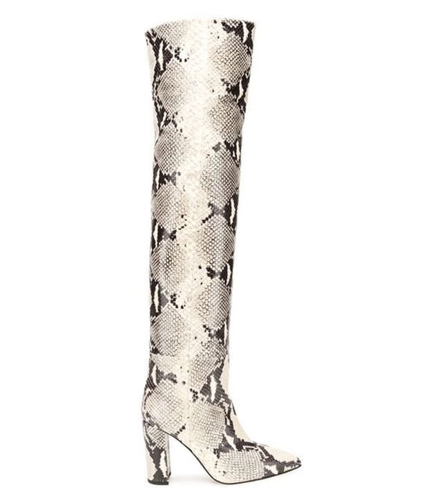 embossed thigh high boots
