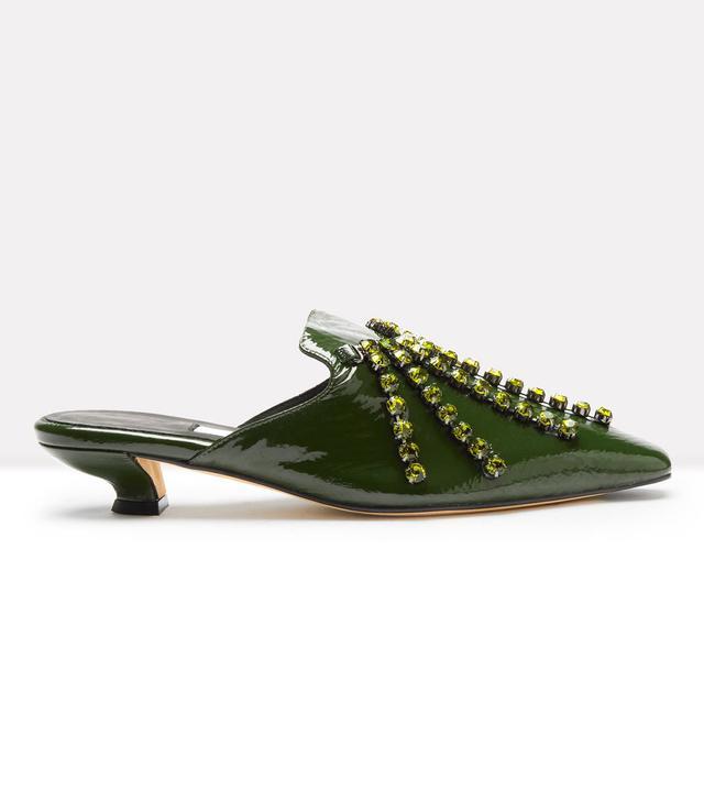 Miista Claudina Calke Green Glossed Leather Mules