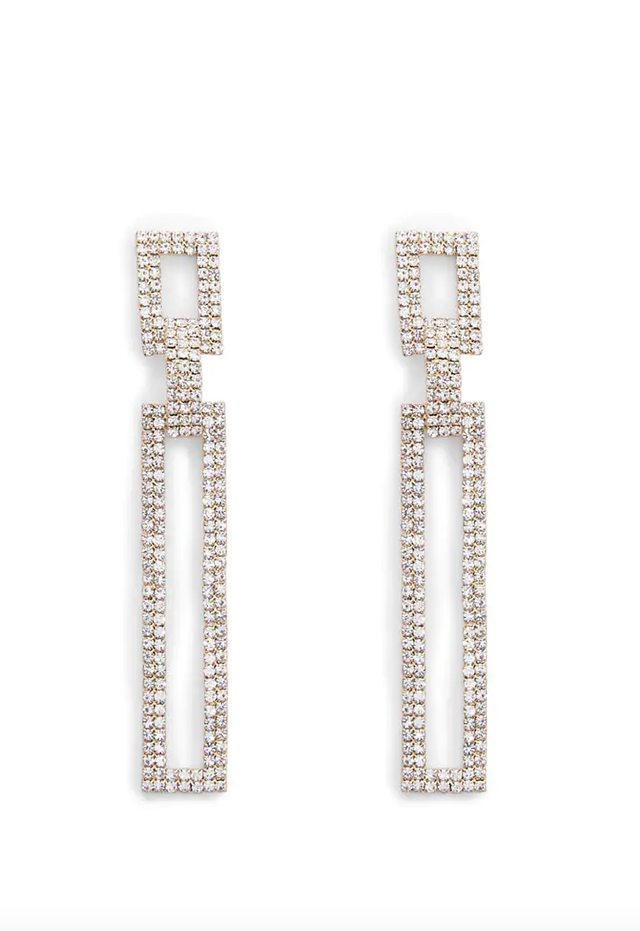 Forever 21 Pave Geo Drop Earrings